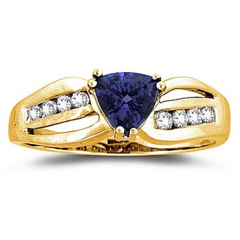 14k Yellow Gold .15ctw Diamond .90ct Tanzanite Ring