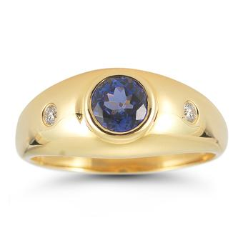 14k Yellow Gold Men's .05ctw Diamond .90ct Tanzanite Ring