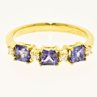 18k Yellow Gold .07ctw Diamond .75ct Tanzanite Ring