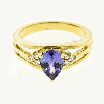 14k Yellow Gold .13ctw Diamond 1.00ct Tanzanite Ring