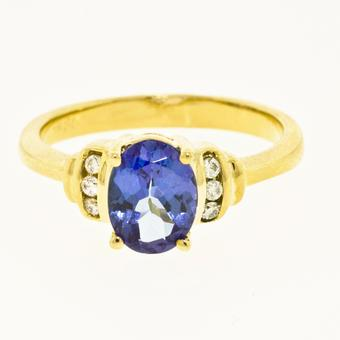14k Yellow Gold .07ctw Diamond 1.30ct Tanzanite Ring