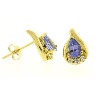 14k Yellow Gold .08ctw Diamond .84ct Tanzanite Earrings