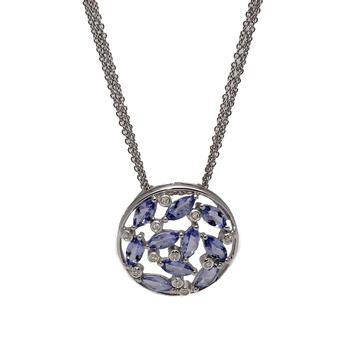 18k White Gold .05ct Diamond 2.80ct Tanzanite Pendant