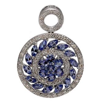 18k White Gold .31ct Diamond 2.25ct Tanzanite Pendant