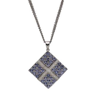 18k White Gold .085ct Diamond 3.24ct Tanzanite Pendant