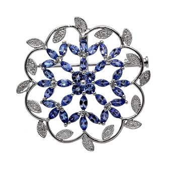 18k White Gold .16ct Diamond 4.48ct Tanzanite Pendant