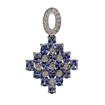 18k White Gold .18ct Diamond 4ct Tanzanite Pendant