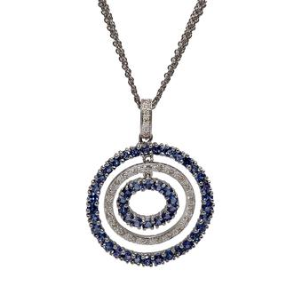 18k White Gold .16ct Diamond 1.90ct Tanzanite Pendant