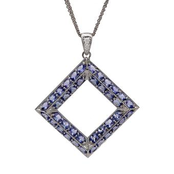 18k White Gold .065ct Diamond 10ct Tanzanite Pendant