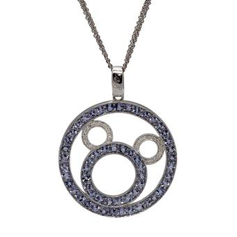 18k White Gold .17ct Diamond 5.04ct Tanzanite Pendant