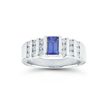 14k White Gold .50ctw Diamond .65ct Tanzanite Ring