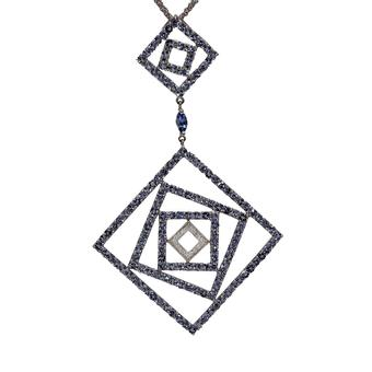 18k White Gold .08ct Diamond 6.52ct Tanzanite Pendant