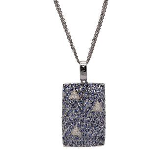 18k White Gold .11ct Diamond 4.28ct Tanzanite Pendant