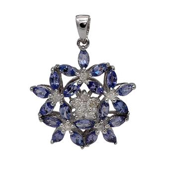 18k White Gold .13ct Diamond 2ct Tanzanite Pendant