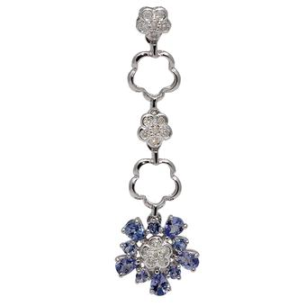 18k White Gold .12ctw Diamond 1.2ct Tanzanite Pendant