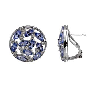 18k White Gold .09ctw Diamond 5.6ct Tanzanite Earrings
