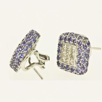 18k White Gold .90ctw Diamond 4.48ct Tanzanite Earrings