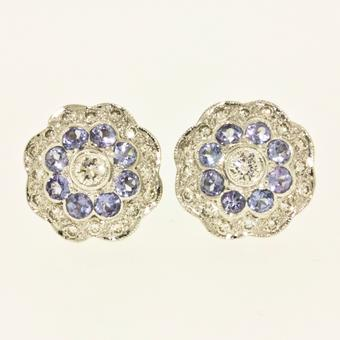 18k White Gold .31ctw Diamond .64ct Tanzanite Earrings