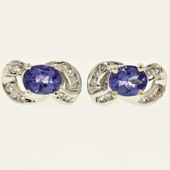 14k White Gold .20ctw Diamond 1.9ct Tanzanite Earrings