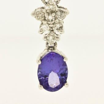 14k White Gold .10ctw Diamond .55ct Tanzanite Pendant