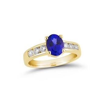 14k Yellow Gold .45ctw Diamond 1.30ct Tanzanite Ring