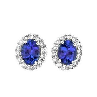 14k White Gold .84ctw Diamond 2.60ct Tanzanite Earrings