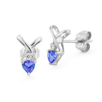 14k White Gold .03ctw Diamond .40ct Tanzanite Earrings