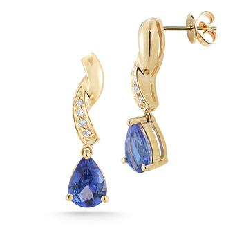 14k Yellow Gold .04ctw Diamond 2ct Tanzanite Earrings