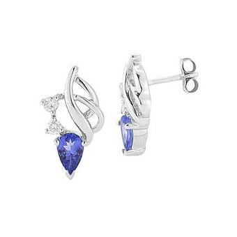 14k White Gold .14ctw Diamond .84ct Tanzanite Earrings