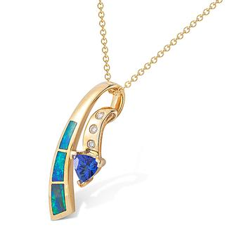 14k Yellow Gold .03ctw Diamond .35ct Tanzanite Pendant