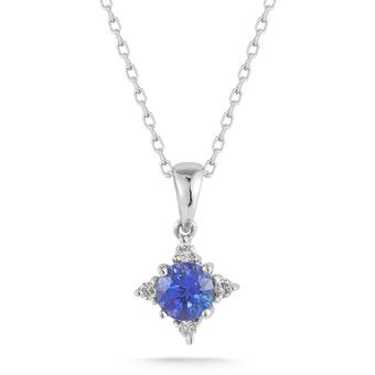 14k White Gold .09ctw Diamond .40ct Tanzanite Pendant