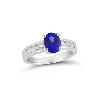 14k white gold .45ctw Diamond, 1.30ct Tanzanite Ring