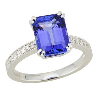 14k White Gold .12ctw Diamond 3.60ct Tanzanite Ring