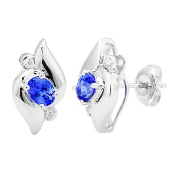 14k White Gold .04ctw Diamond .90ct Tanzanite Earrings