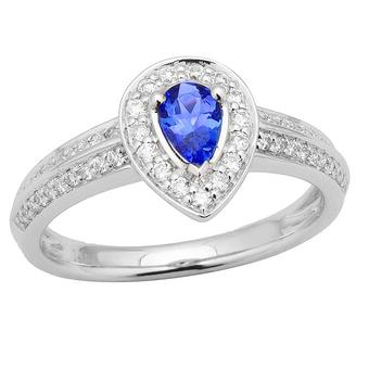 14k White Gold .32ctw Diamond .42ct Tanzanite Ring