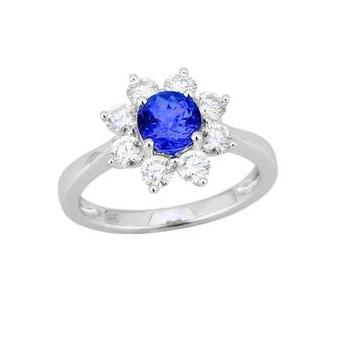14k White Gold .87ctw Diamond .90ct Tanzanite Ring
