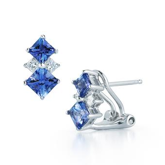 14k White Gold .16ctw Diamond 1.50ct Tanzanite Earrings