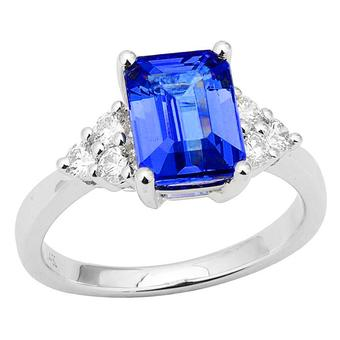 14k White Gold .34ctw Diamond 2.30ct Tanzanite Ring