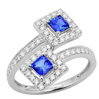 14k White Gold .53ctw Diamond .70ct Tanzanite Ring