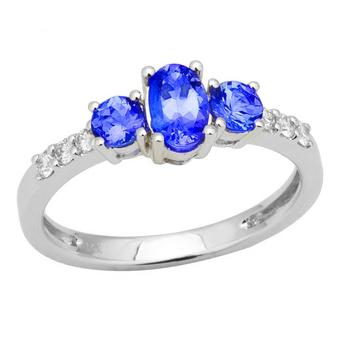 14k White Gold .13ctw Diamond 1.35ct Tanzanite Ring