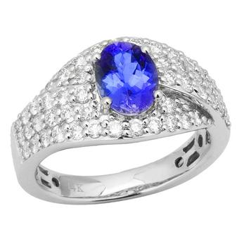 14k White Gold 1ctw Diamond 1.30ct Tanzanite Ring