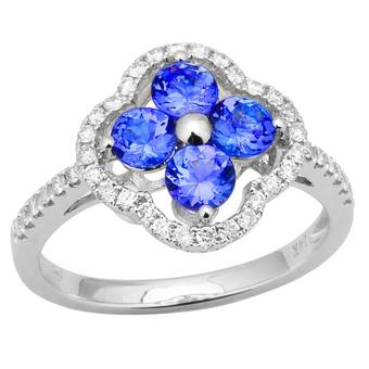 14k White Gold .31ctw Diamond 1ct Tanzanite Ring