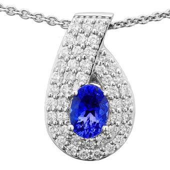 14k White Gold .88ctw Diamond 1.30ct Tanzanite Pendant