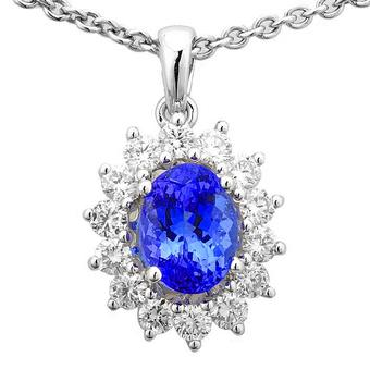 14k White Gold .62ctw Diamond 1.30ct Tanzanite Pendant
