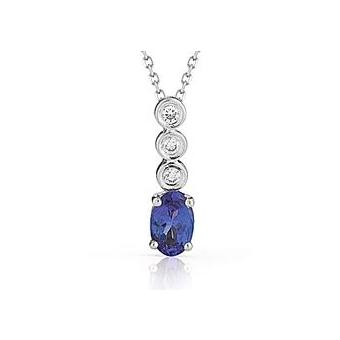 14k White Gold .04ctw Diamond .55ct Tanzanite Pendant