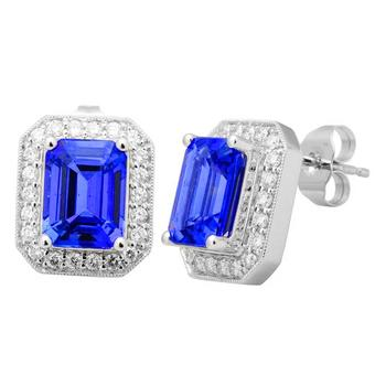 14k White Gold .53ctw Diamond 4.60ct Tanzanite Earrings