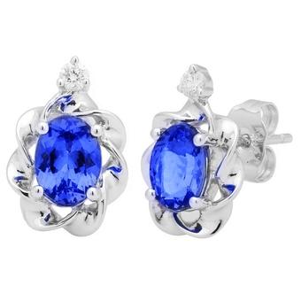 14k White Gold .09ctw Diamond 1.90ct Tanzanite Earrings