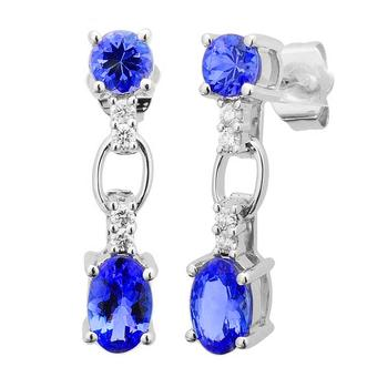14k White Gold .10ctw Diamond 1.64ct Tanzanite Earrings