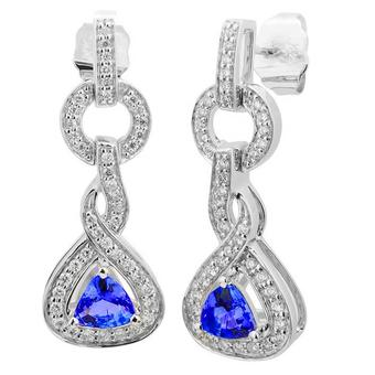 14k White Gold .33ctw Diamond .70ct Tanzanite Earrings