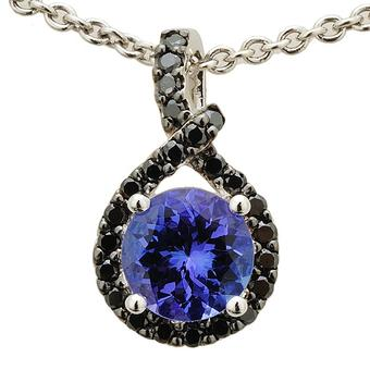 14k White Gold .24ctw Black Diamond 1.40ct Tanzanite Pendant